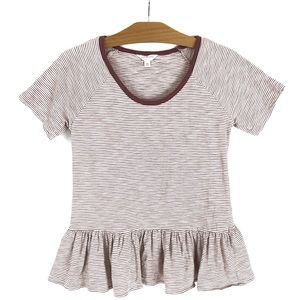 Lucky Brand Peplum Striped Short Sleeve Top XS